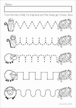 Christmas Nativity Preschool Math and Literacy No Prep worksheets and activities. A page from the unit: pre-writing practice