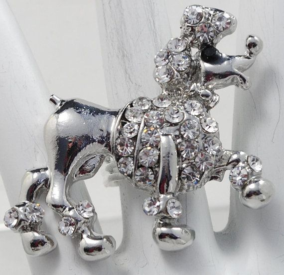 Big  Poodle Dog Ring/Silver/Rhinestone/Pet Jewelry/Dog Lovers/Statement Ring/Gift For Her/Adjustable/Under 20 USD