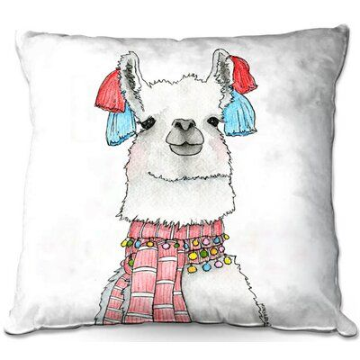 Ebern Designs Samora Couch Scarf Llama Throw Pillow