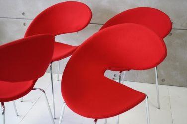 Midj set van 4 Twist stoelen in rood