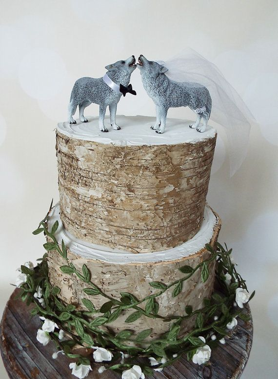wolf dog wedding cake topper wolves howling by MorganTheCreator