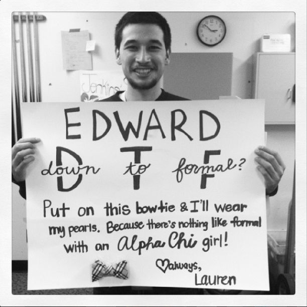 How I asked my boyfriend to Alpha Chi Omega formal <3 submitted by: jemappellelauren