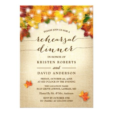 Autumn Leaves Lights Burlap Fall Rehearsal Dinner Card - tap to personalize and get yours