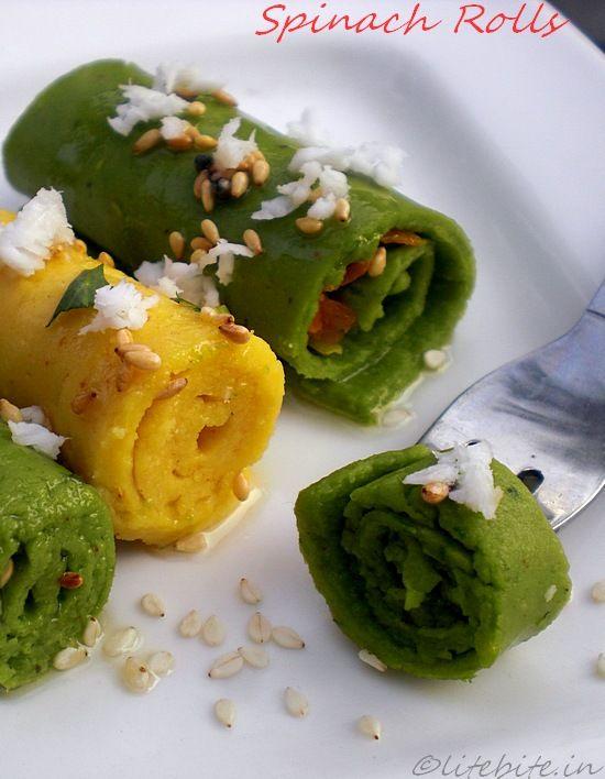 Spinach Khandvi or A healthy chickpea flour snack