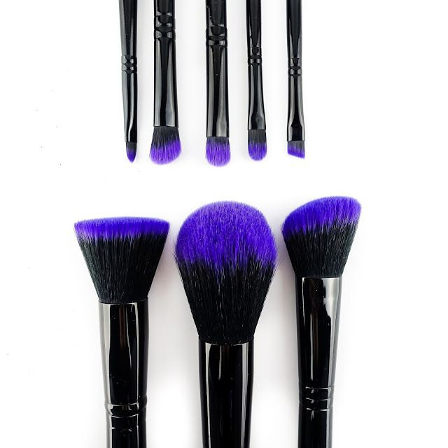 Love purple? This professional purple brush set is the ultimate travel brush set for those on the go. Shop: http://furlesscosmetics.com/purple-makeup-brush-set/