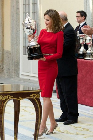 Queen Letizia of Spain Lookbook: Queen Letizia of Spain wearing Cocktail Dress (2 of 32). Princess Letizia donned a simple yet sophisticated red sheath dress for the Spanish National Sports Awards.