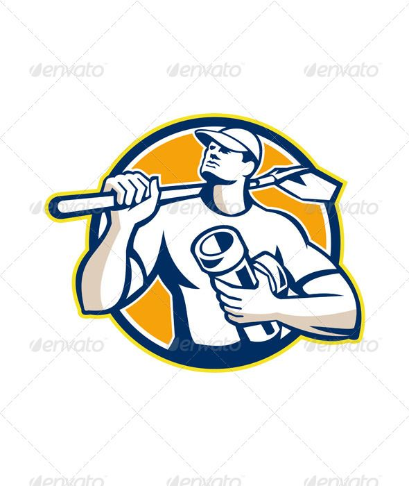 Drainlayer Worker Shovel Pipe Circle Retro  #GraphicRiver         Illustration of a drainlayer builder construction worker wearing hat with shovel on shoulder and holding drain pipe connector set inside circle done in retro style. Editable EPS8 (you can use any vector program), JPEG and Transparent PNG (can edit in any graphic editor) files are included.     Created: 23September13 GraphicsFilesIncluded: TransparentPNG #JPGImage #VectorEPS Layered: No MinimumAdobeCSVersion: CS Tags: builder…