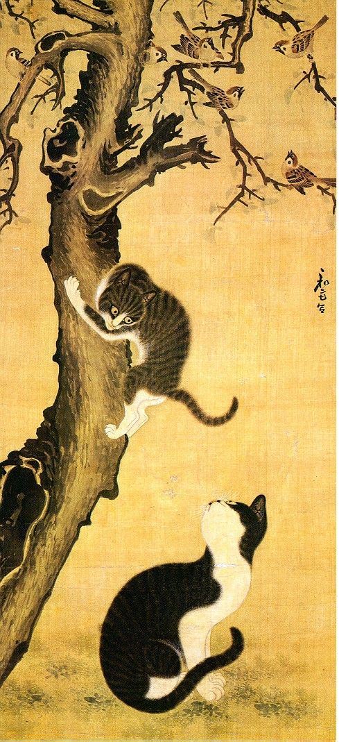 Myojakdo - Cats and Sparrows | ink and color painting, ca. 1850 | Sang-Byok Pyon ----------------------------------------------- National Museum of Korea