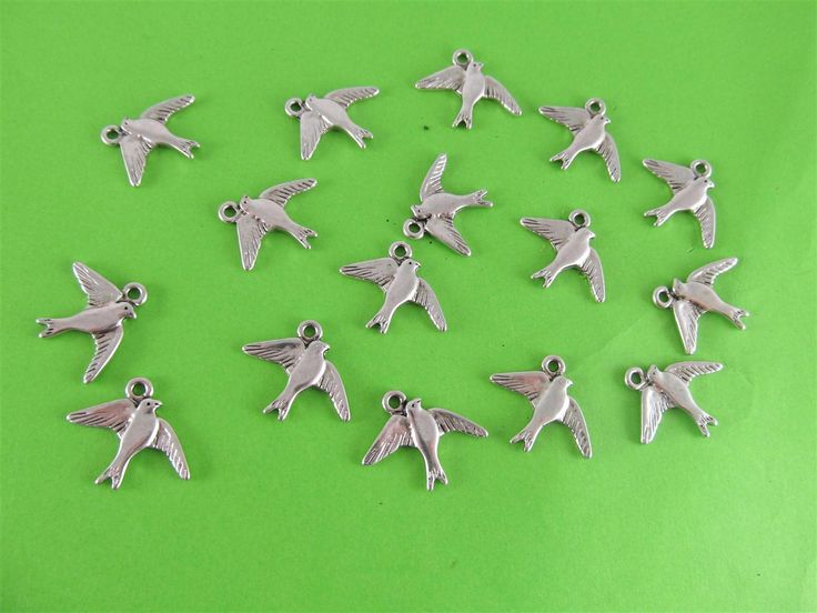 Metal birds 16mm (15 pcs)