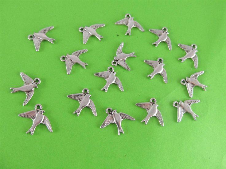 Metal birds 16mm (15 pcs)