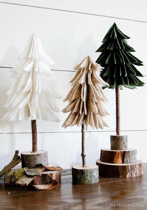 30 moderne Weihnachts-Dekor-Ideen für Ihr Zuhause / / dieser Filz und Holz Bäume bringen ein Stück Natur in Ihre Einrichtung und Hilfe machen Ihren Raum fühlen sich wärmer und einladender.