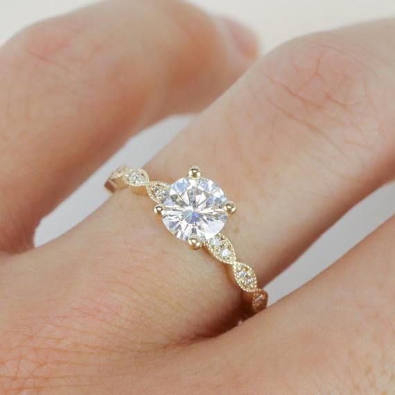 Yellow Gold Round Brilliant Cut Moissanite Solitaire Engagement Ring, Art Deco Leaf Milgrain Crown Band, Simple Prong Set Wedding Ring