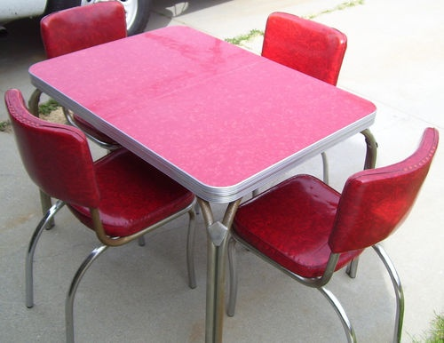 511 best retro dining tables and cupboards images on pinterest vintage 1950s chrome kitchen table 4 chairs w leaf red cracked ice mid century watchthetrailerfo