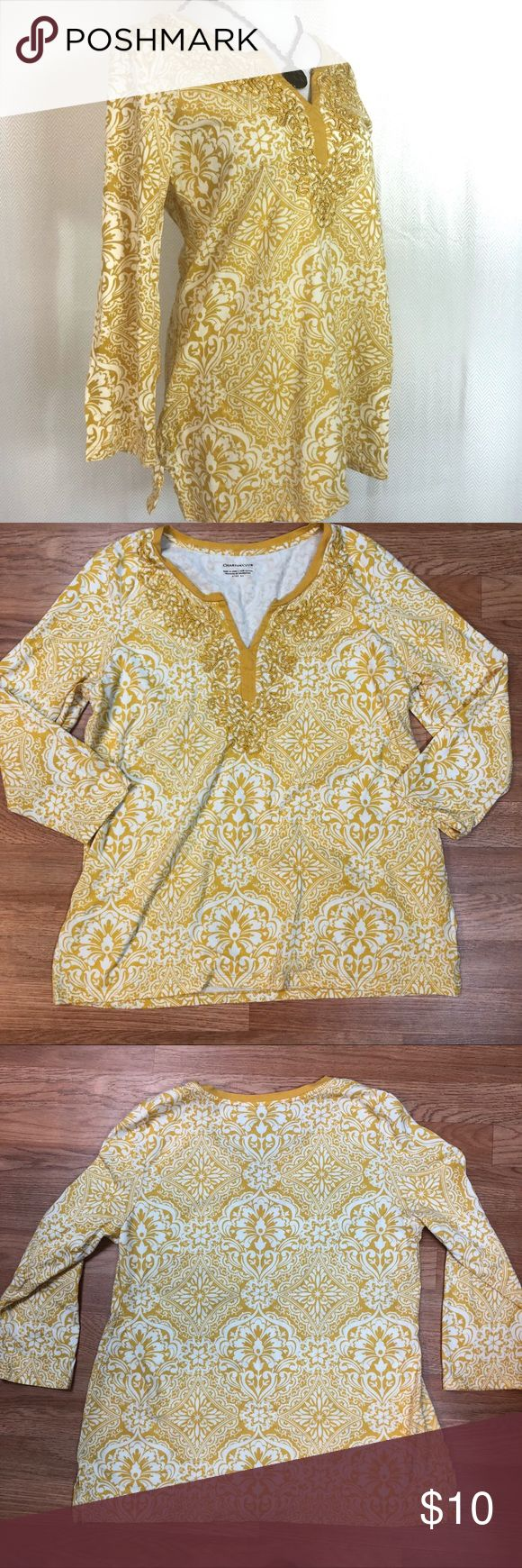 Embroidered 3/4 Sleeve Cotton Top 100% cotton with a beautiful mustard and white medallion print!  V-neck with solid mustard trim and intricate mustard embroidery!  3/4 length sleeves.  Easy care: machine wash and tumble dry!  Looks awesome with a denim skirt!  Perfect condition! Charter Club Tops