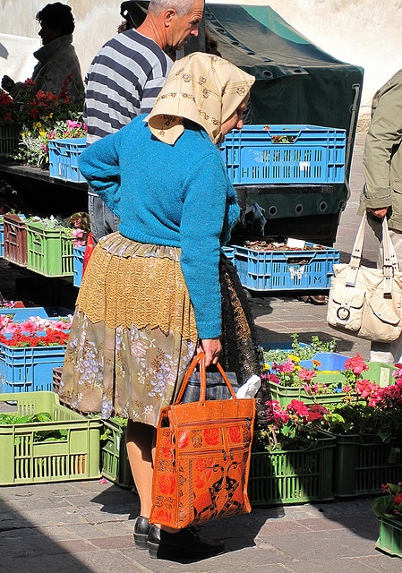 A traditional Babka (Grandma) at the markets in the eastern Slovak city of Košice ... checking out the produceI.