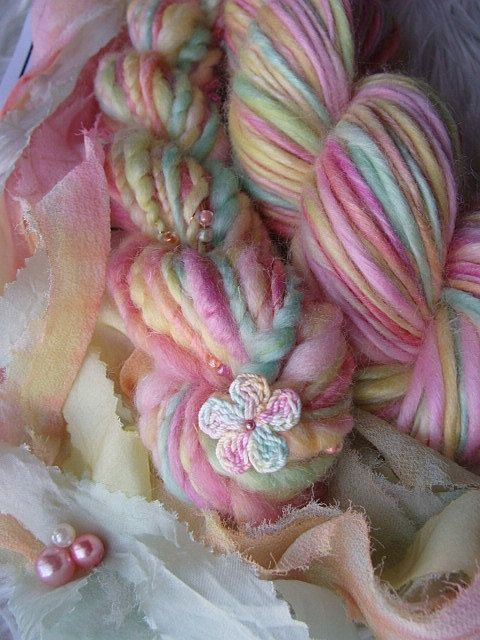 Handspun Yarn Kit  Fairy Tail by ilashdesigns on Etsy, $47.00