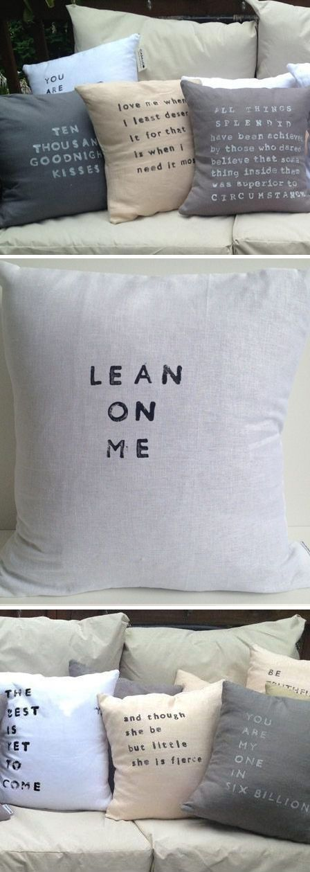 Some really cute pillows with diff words--could be an inspirational decorative touch