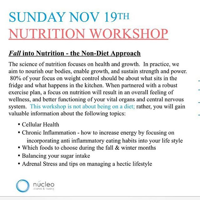"""After a successful Nutrition seminar at @corestudio_pilates I am sooo happy and grateful to be offerings another one at @nucleopilatesrow  Thanks to my friend @marlene for the invite and space ✨✨✨✨✨✨✨✨✨✨✨✨✨ . . Date: November 19th at 1:15 PM . Location: 862 Eglinton Ave East . More info: nucleofitness.ca . . #Healthylifestyle #wildfreecollective #beachbumlifestyle #gratitude #reformer #pilatesgirl #instapilates #healthychoice #eathealthy #fitandhealthy #beautifulmoney #yyzpilates #tribe…"