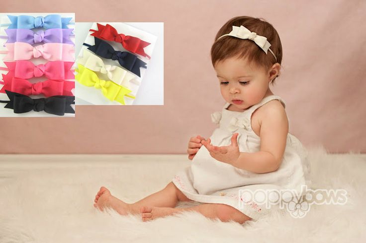 Ivory Baby Headband - Skinny Elastic Headband Boutique Bow in Custom Sizes - Solid Color - Newborn Baby Toddler Girl Baptism Christening. $7.95, via Etsy.