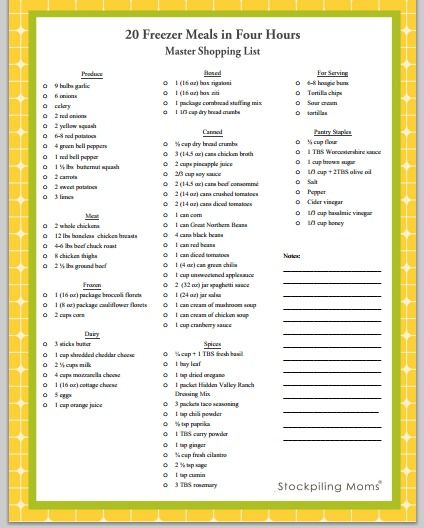 20 Freezer Meals in Four Hours master shopping list