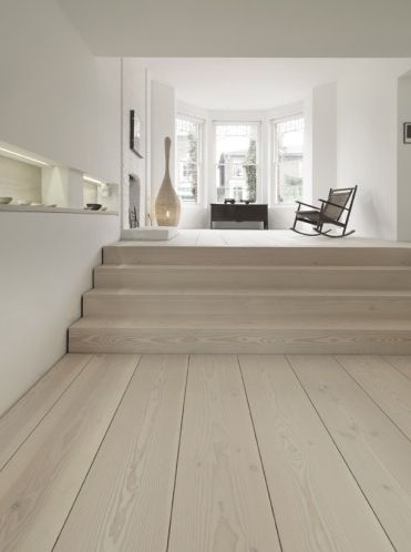 White oak flooring with matching stairs