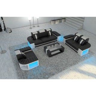 Leather Sectional Sofa Set Boston 3-2-1 LED Lights | Overstock.com Shopping - The Best Deals on Sectional Sofas