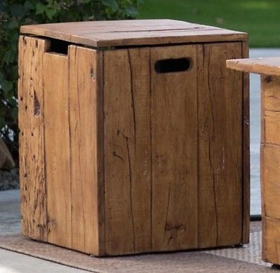 Propane Tank Cover Rustic Outdoor End Table Hideaway Fire Pit Accessories New