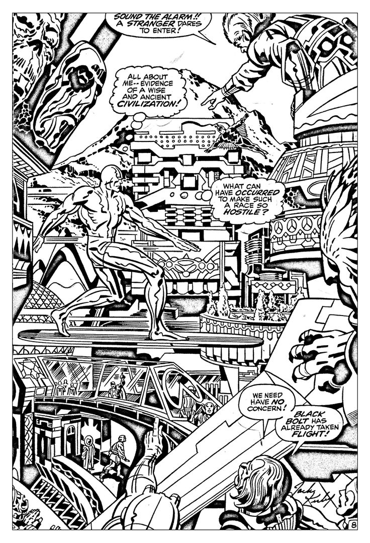 Free Coloring Page Adult Comics Fantastic Four Silver Surfer