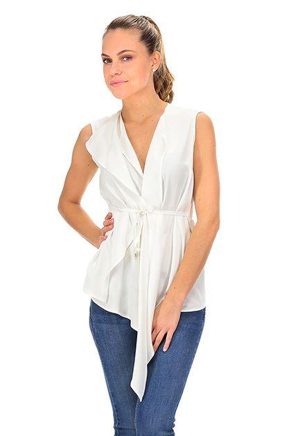Kocca - Top - Abbigliamento - Top a gilet con allacciatura a cintura, taglio asimmetrico.La nostra modella indossa la taglia /EU XS. - 60725 - € 68.00
