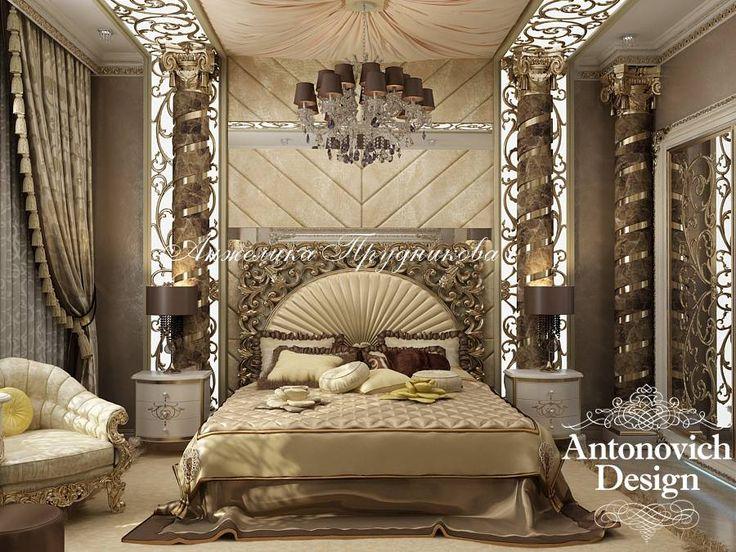 Роскошная золотая спальня в стиле барокко - Дизайн спальни
