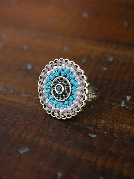 Antique blue woven cord ring