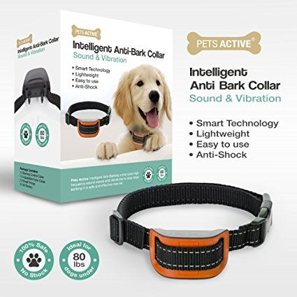 No Bark Dog Training Collar by Pets Active Humanely Stops Barking with Sound and Vibration. Dog training. Dog training reward. Pet training. Pet training gadgets. Dog training gadgets. Dog training book. It's an Amazon affiliate link.
