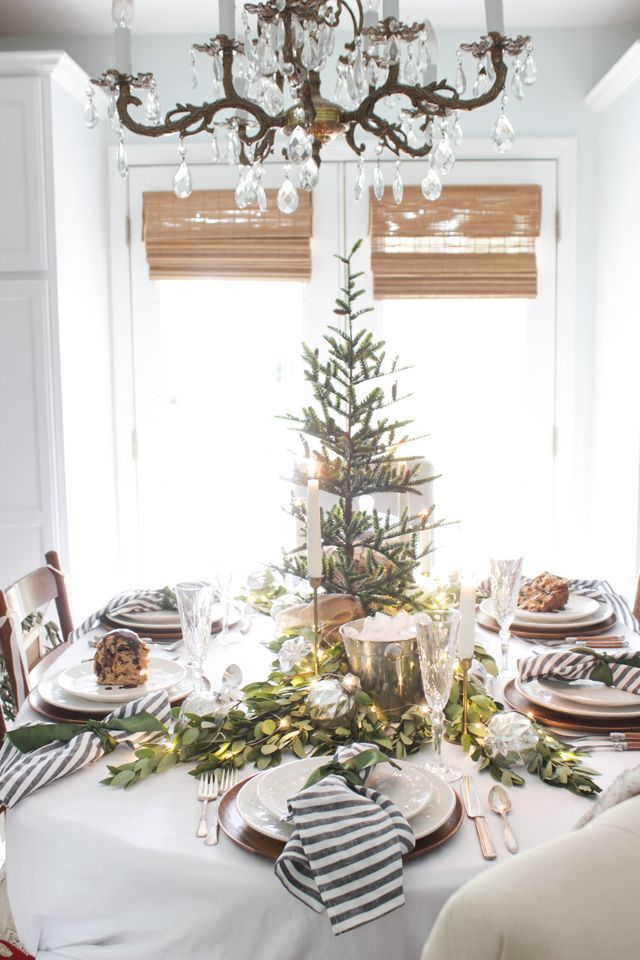 Unique Christmas Tabletop Ideas On Pinterest Holiday - Decorating dining room christmas white silver christmas palette