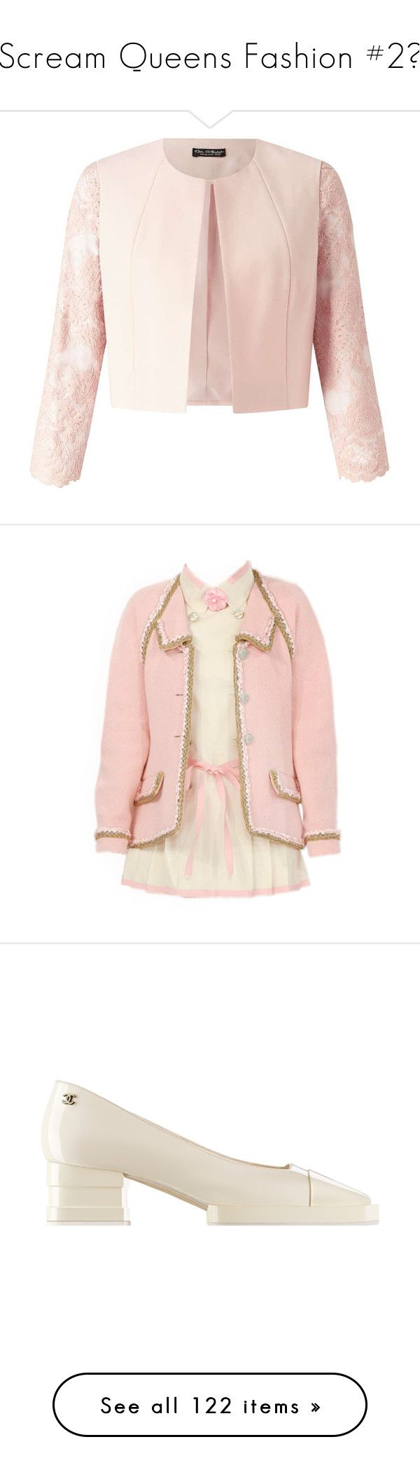 """""""Scream Queens Fashion #2♡"""" by kaylalovesowls ❤ liked on Polyvore featuring outerwear, jackets, blush, lace jacket, pink jacket, pink lace jacket, miss selfridge, dresses, chanel and chanel dresses"""