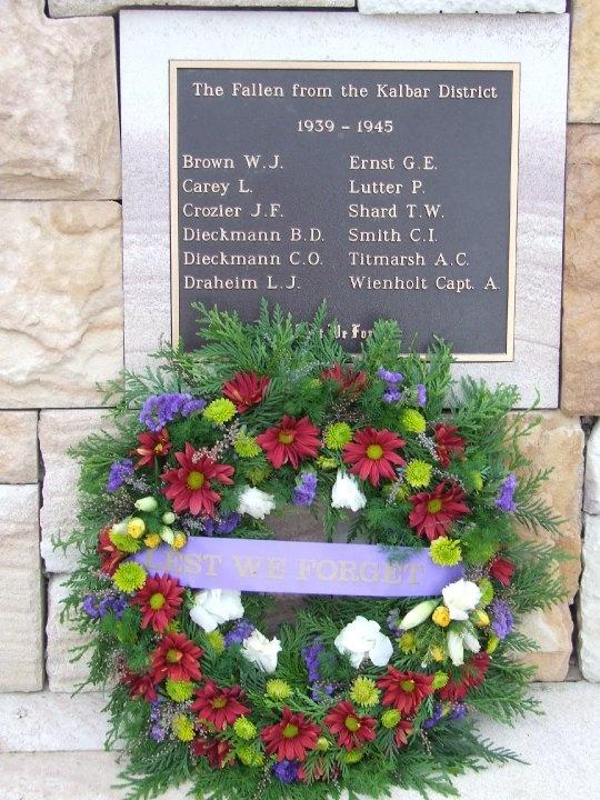 Names of the Fallen Anzac Day 2010 Kalbar