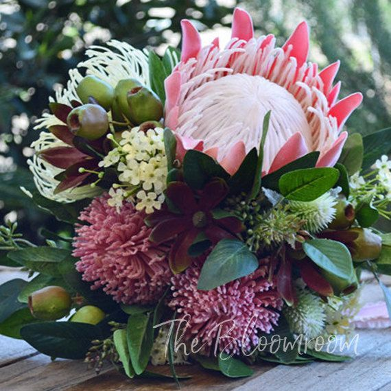 King Protea Bouquet Pink Cream Gum Nuts Native Flowers Bouquet Wedding Wedding Flower Red Bridal Bouquet Artificial Bridal Bouquets Wedding Flowers
