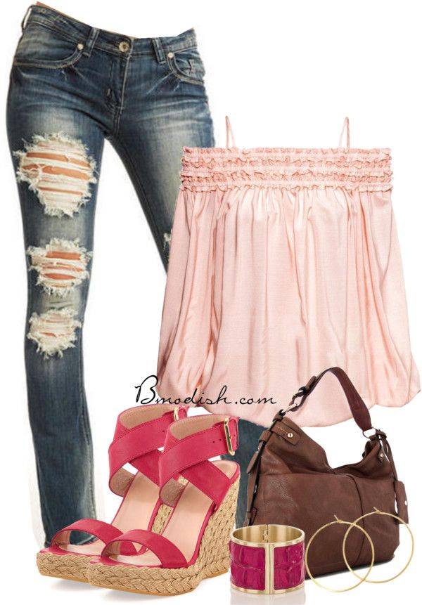 off shoulder blouse with bootcut jeans outfit