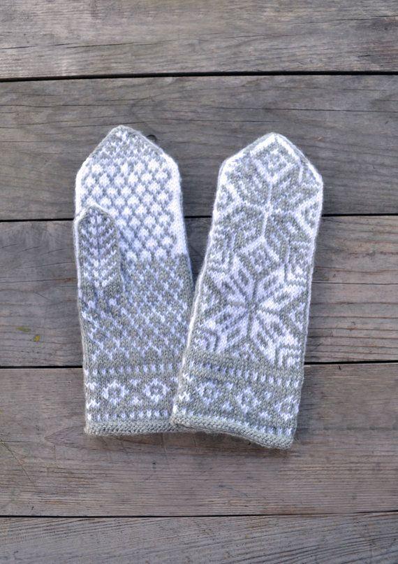 Wool Mittens Gray and White Scandinavian Gloves by lyralyra, $38.00