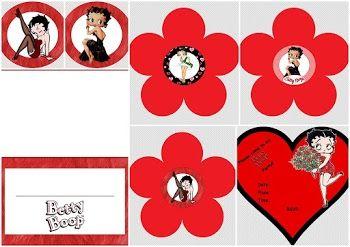 Mini Kit de Betty Boop en Rojo para Imprimir Gratis.