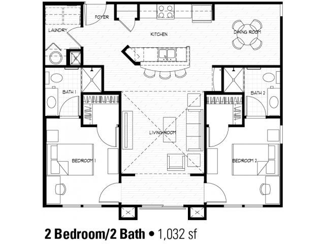 2 bedroom floor plan at student apartments in charlotte - 2 Bedroom House Plans