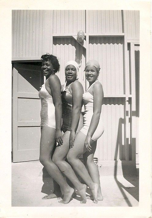 We're Ready for Our Closeup   1940s  African American bathing suit beauties, unidentified.
