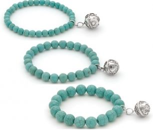 Turquoise Bella Donna Sterling Silver Harmony Ball bracelet