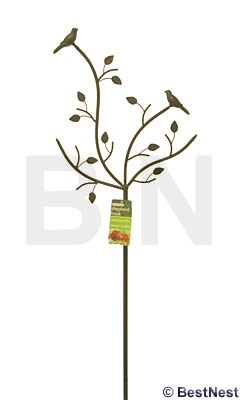 "Gardman Bird & Branch Shepherd Hook  ---  decorated pole for 1 or 2 hanging baskets or a hummingbird feeder. Height 69""."