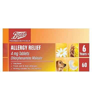 #Boots Pharmaceuticals Boots Allergy Relief 4mg Tablets Chlorphenamine #20 Advantage card points. Helps to relieve the symptoms of allergic reactions including hayfever, food, pet and dust allergies aswell as inching caused by chickenpox. See details below, always read the label. FREE Delivery on orders over 45 GBP. (Barcode EAN=5045091017556)