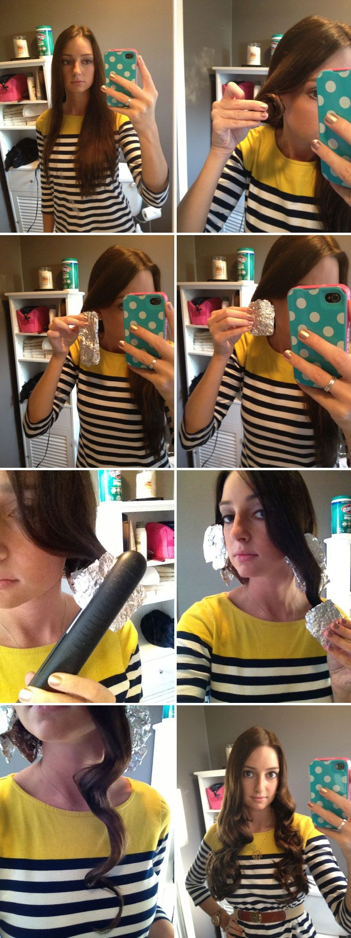 DIY CURLS :: How to get curls that last easily and quickly...even for stick straight hair...USING TIN FOIL & a flat iron! Click for the full tutorial...