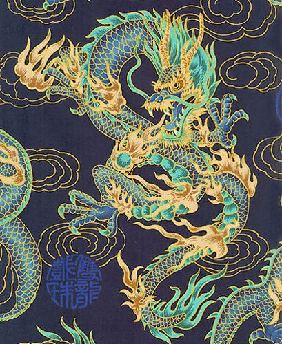 FIRE-BREATHING DRAGONS: Navy Blue Asian Japanese Fabric (Per Yard)
