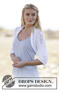 """Kamelia - DROPS square knitted bolero with lace pattern in """"Safran"""". Size: S - XXXL. - Free pattern by DROPS Design"""