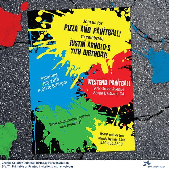 přes 25 nejlepších nápadů na téma paintball birthday na pinterestu, Birthday invitations