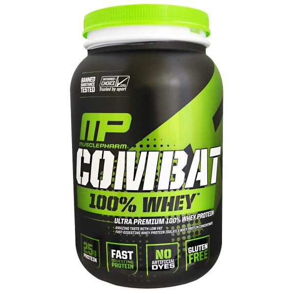 sports-fitness-athletic: Muscle Pharm, Combat 100% Whey, Vanilla, 32 oz (90...