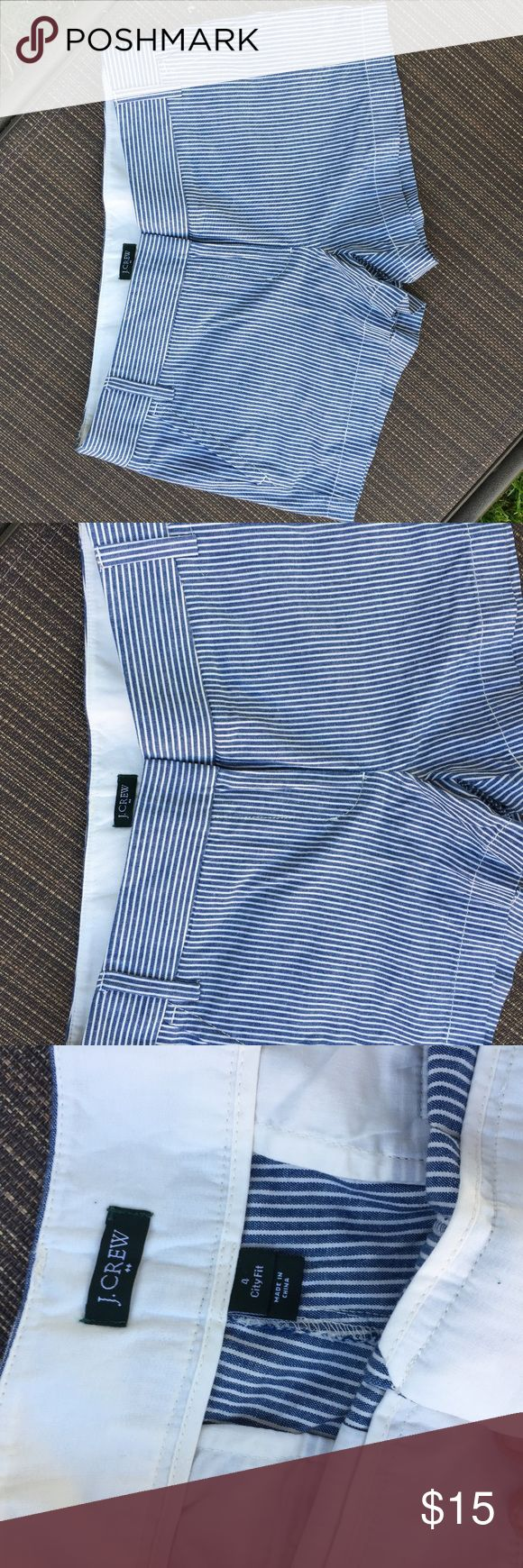 J Crew City Fit women's striped shorts size 4 Gently pre Owned stripped shorts great condition J. Crew Shorts Jean Shorts
